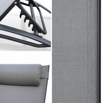 Duo de bains de soleil en aluminium et textilène louisa gris