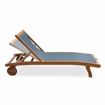 Ensemble de 2 bains de soleil en bois Marbella, transats en eucalyptus FSC huilé et textilène gris