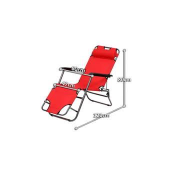 Transat chaise longue jardin plage 3 positions rouge