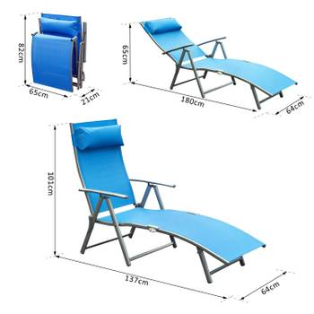 Outsunny transat chaise longue bain de soleil pliable dossier inclinable multi-positions têtière fou