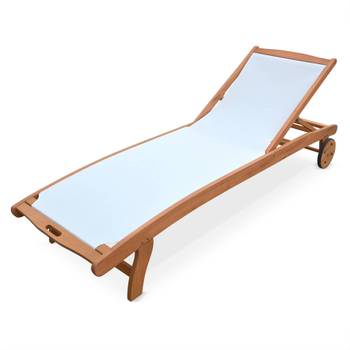 Ensemble de 2 bains de soleil en bois Marbella, transats en eucalyptus FSC huilé et textilène Blanc