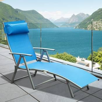 Outsunny transat chaise longue bain de soleil pliable dossier inclinable multi-positions têtière fou