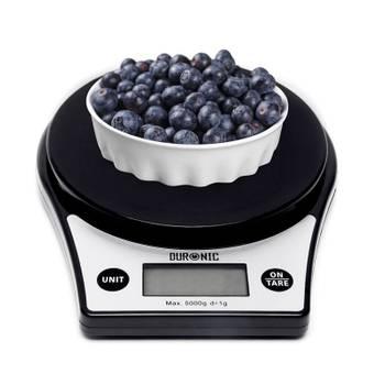 Duronic ks6000 balance de cuisine avec large affichage rétroéclairé et bol de 24,5 cm - 5 kg