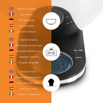 Duronic KS5000 Balance de Cuisine avec affichage rétroéclairé et bol en inox de 24,5 cm - 5 kg