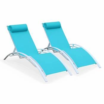 Duo de bains de soleil en aluminium et textilène Louisa Turquoise