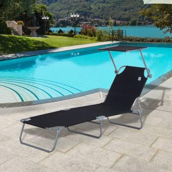 Transat bain de soleil pliable grand confort dossier et pare-soleil réglable multi-positions noir