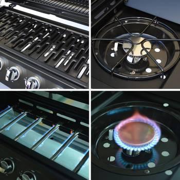 Barbecue au gaz Treville noir - 6 brûleurs + feu latéral, avec thermomètre - cuisine extérieure