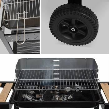 Barbecue charbon Alfred noir et gris, cuve émaillée, tablettes latérales bois, hauteur de grille aj