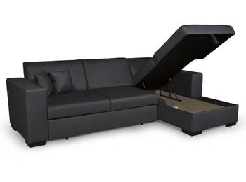 Canapé d'angle fuji xl convertible avec coffre simili cuir gris - angle - droit