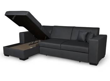 Canapé d'angle fuji xl convertible avec coffre simili cuir gris - angle - gauche