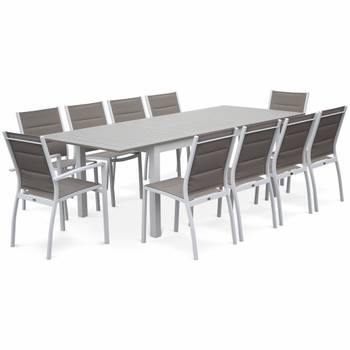 Lot de 2 chaises Chicago en aluminium blanc et textilène taupe empilables