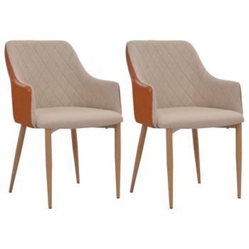 Vidaxl chaises à dîner 2 pcs tissu 55 x 56 x 86 cm gris et marron