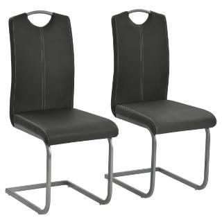 Vidaxl chaise de salle à manger 2 pcs cuir artificiel 43x55x100cm gris