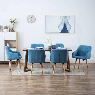 Vidaxl chaise à dîner 6 pcs revêtement en tissu 55 x 55 x 84 cm bleu