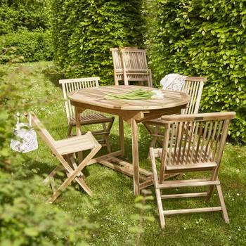 Salon de jardin en bois de teck 4 à 6 places