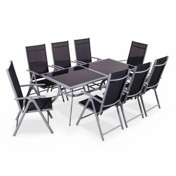 Salon de jardin en aluminium table 8 places gris textilène
