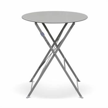 Salon de jardin bistrot pliable Emilia rond gris taupe, table ⌀60cm avec deux chaises pliantes, aci