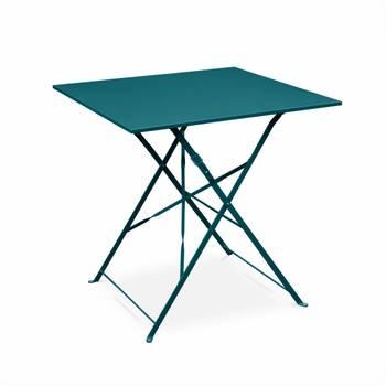 Salon de jardin bistrot pliable Emilia carré bleu canard, table 70x70cm avec deux chaises pliantes,