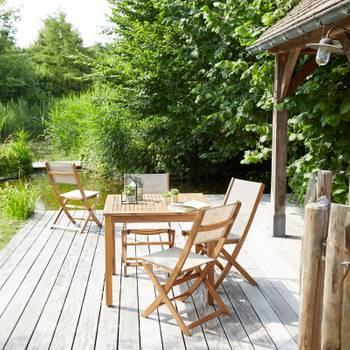 Salon de jardin en bois d\'acacia FSC 4 places