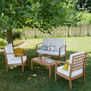 Salon de jardin en bois d'acacia fsc 4 places
