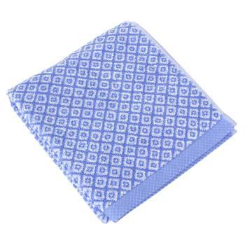 Parure de bain 4 pièces shibori mosaic bleu 100% coton 500g/m2