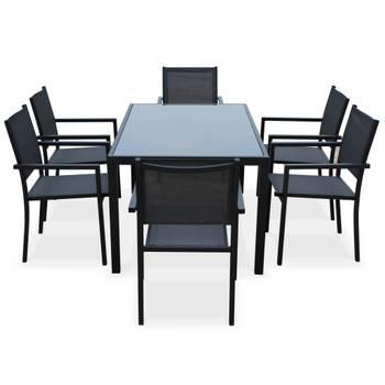 Salon de jardin aluminium table 150cm, 6 fauteuils en ...