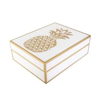 Boite a bijoux 23x18x8 cm ananas dore