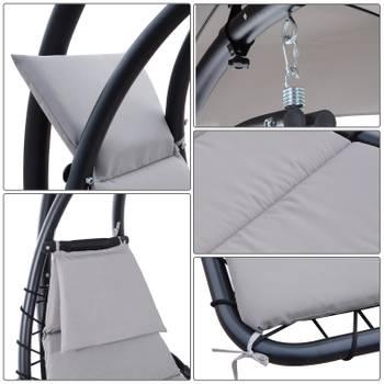 Transat suspendu design contemporain pare-soleil et matelas inclus gris