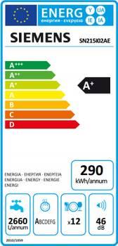 Siemens  - iQ100 SN215I02AE - Lave-vaisselle - 60 cm - Acier inoxydable/Argent laqué