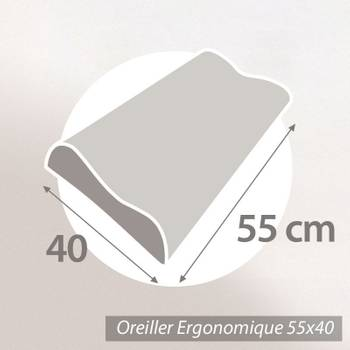 Oreiller ergonomique 55x40 PILO Visco-végétal à mémoire de forme