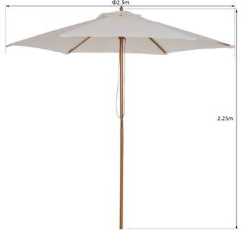 Parasol droit en bois crème