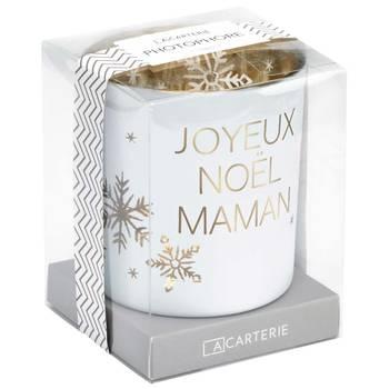 Photophore en verre blanc joyeux no�l maman