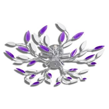 Lampe de plafond blanche et violette avec branches pour 5 ampoules E14