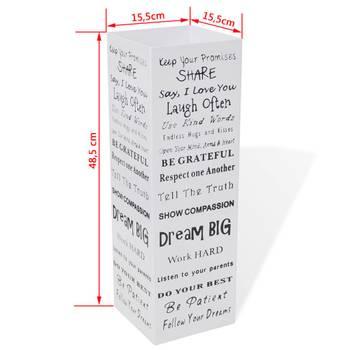 Blanc carré porte-parapluie stockage pour cannes bâtons acier 48,5 cm