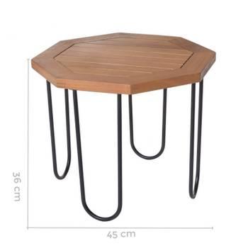 Table de salon de jardin octogonale 45cm en bois d\'acacia et métal  salamanque