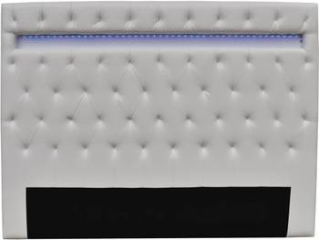 """Tête de lit """"Déco"""" LED - 160 x 200 cm - Blanc"""