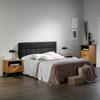Tête de lit tissu noir 172 cm - catz n°2 - l 172 x l 8 x h 65 - neuf