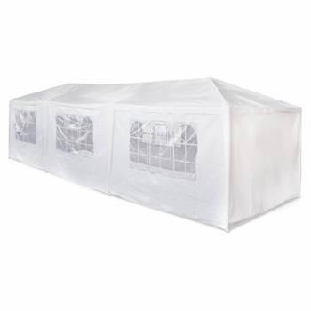 Tente de réception 3x9m Massilia toile blanche - 27 m² - pergola barnum tonnelle chapiteau tente de