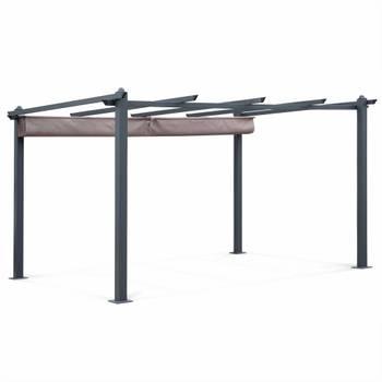 Tente de jardin, pergola aluminium 3x4m Condate taupe, toile rétractable et coulissante, tonnelle,
