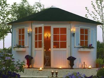 Abri jardin pentagone \nancy\ - 10.72 m² - 4.89 x 3.46 x 2.82 m - 28 mm
