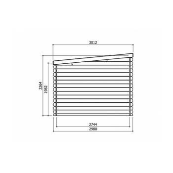 Abri jardin \brest\ - 9.28 m² - 3.08 x 3.01 m - 28 mm.