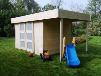 Abri jardin bois \larvik\ - 13.49 m² - 4.74 x 2.84 x 2.04 m - 28 mm