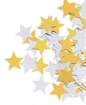 Paillettes / confettis étoile doré et argenté 17 mm - rayher