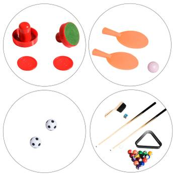Table multi jeux 4 en 1 babyfoot billard air hockey ping-pong avec accessoires mdf bois 87 x 43 x 73