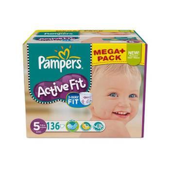 Pack d'une quantité de 136 couches pampers de la gamme active fit de taille 5