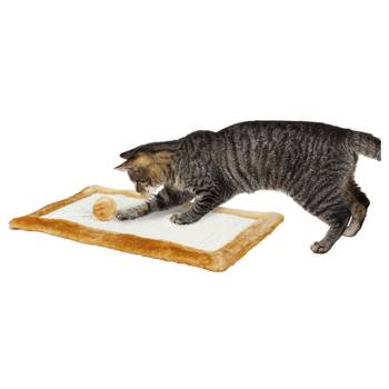 Griffoir avec bords peluche pour chat - trixie