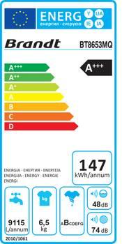 Lave-linge top 40cm 6.5kg 1300t a+++ blanc - brandt - bt8653mq