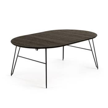 Table A Manger Ronde Extensible 120 200 Cm En Bois Et Metal Noir