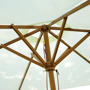 Parasol droit en bois toile polyester 180g/m² diamètre 2,5 m crème neuf 12