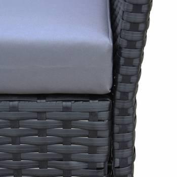 Ensemble de jardin en résine tressée, salon 4 places moltès noir coussins gris fauteuil